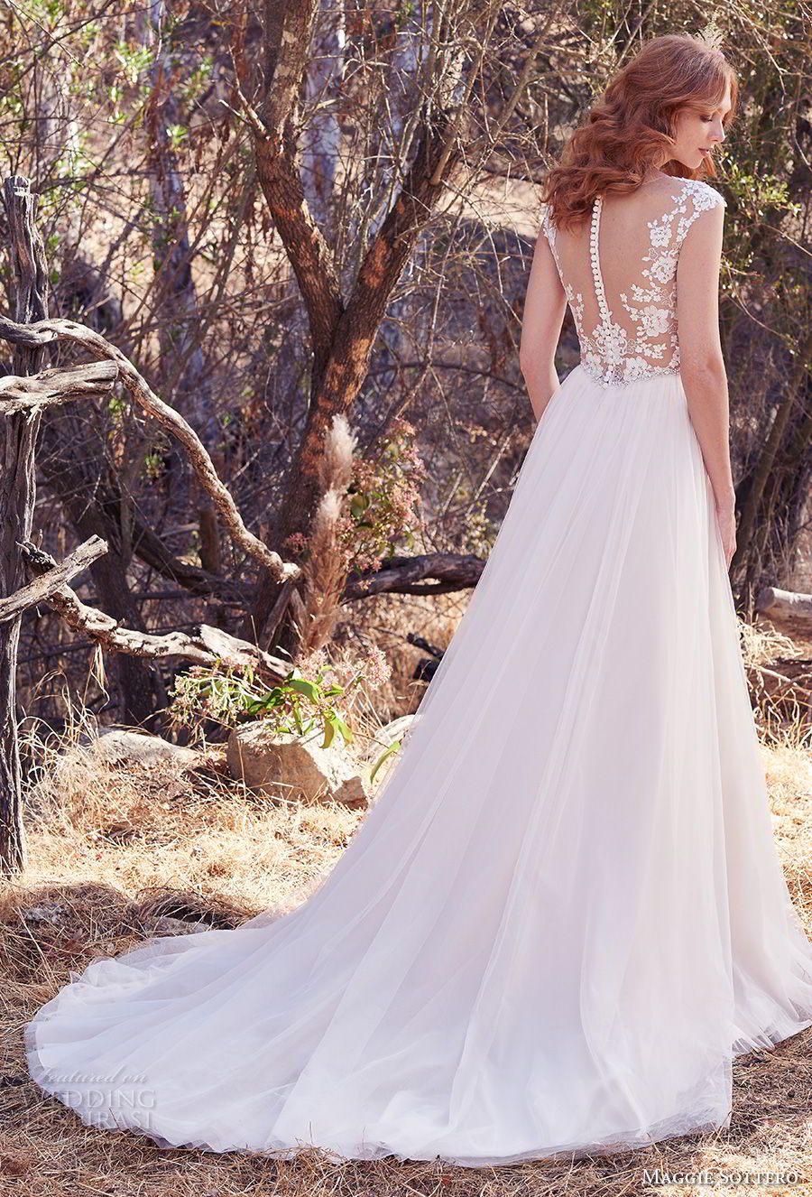maggie sottero fall 2017 bridal cap sleeves illusion bateau sweetheart neckline heavily embellished bodice tulle skirt romantic a line wedding dress sheer button back chapel train (888) bv