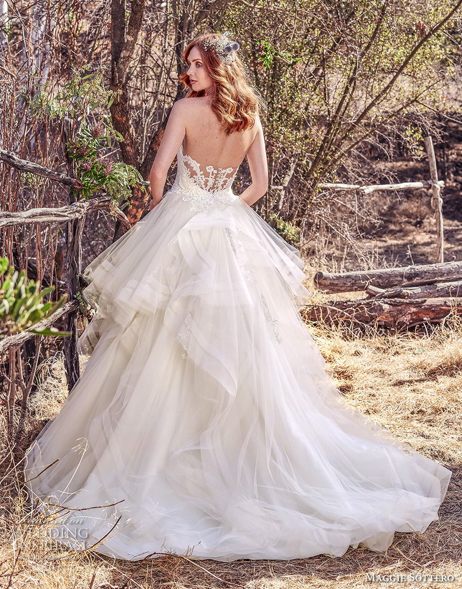 maggie sottero fall 2017 bridal cap sleeves semi sweetheart neckline heavily embellished bodice layered skirt romantic princess ball gown a  line wedding dress old back chapel train (943) bv