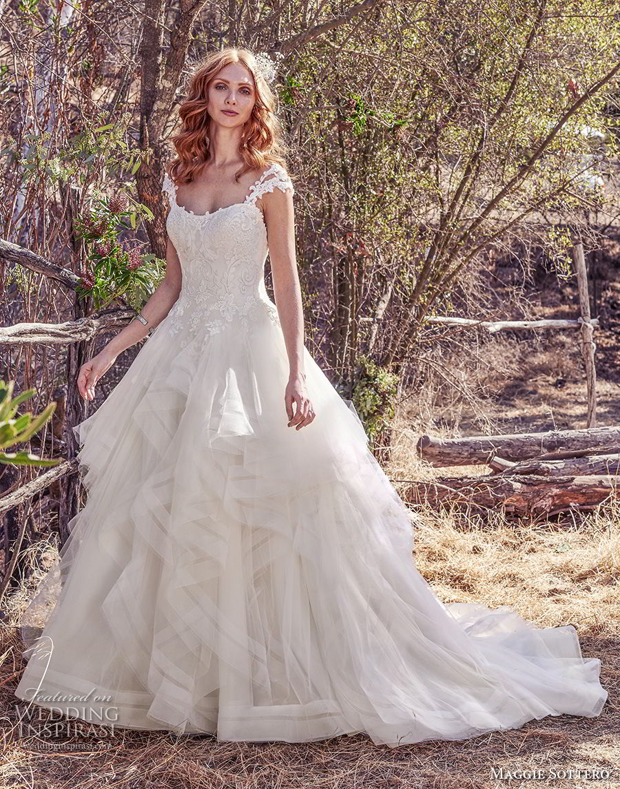 maggie sottero fall 2017 bridal cap sleeves semi sweetheart neckline heavily embellished bodice layered skirt romantic princess ball gown a  line wedding dress old back chapel train (943) mv