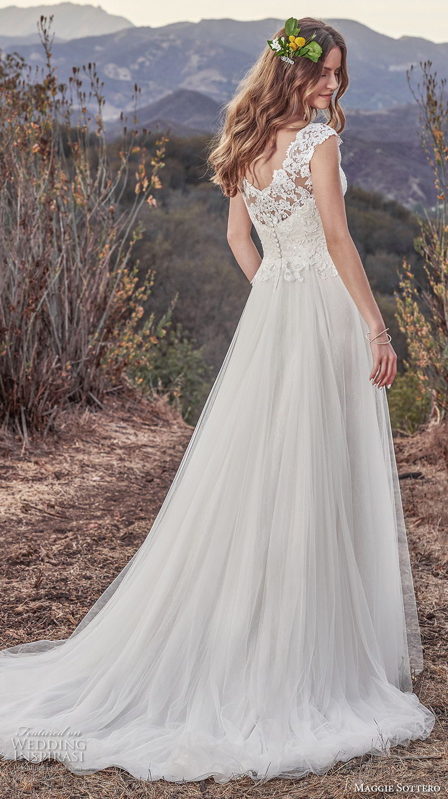 maggie sottero fall 2017 bridal cap sleeves v neck heavily embellished bodice romantic soft a  line wedding dress v back medium train (932) bv