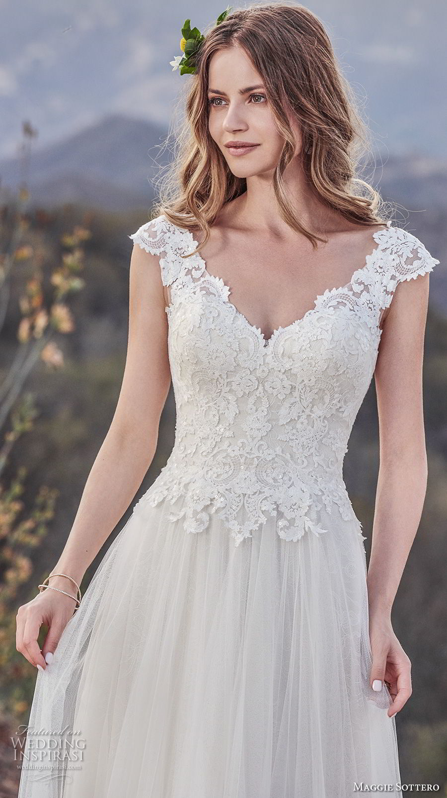 maggie sottero fall 2017 bridal cap sleeves v neck heavily embellished bodice romantic soft a  line wedding dress v back medium train (932) zv