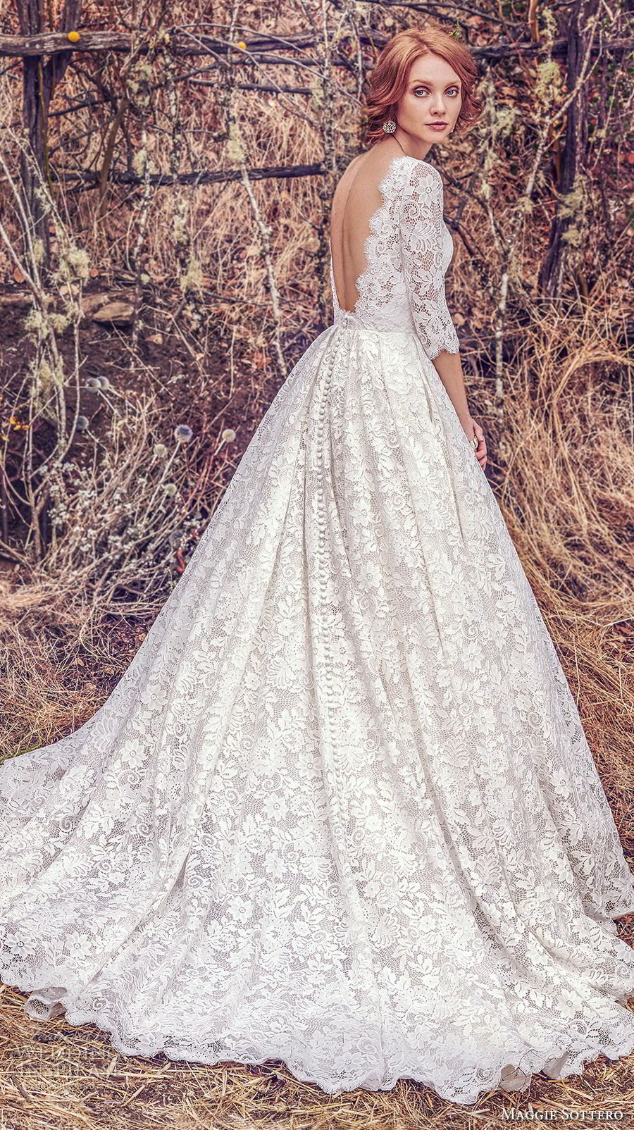Maggie Sottero Fall 2017 Bridal Half Sleeves Bateau Neck Full Embelllishment Elegant Romantic Ball Gown A