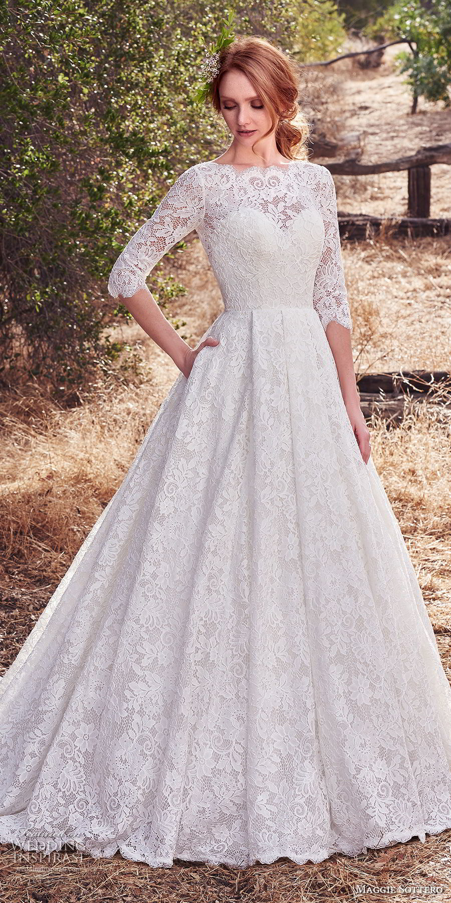 maggie sottero fall 2017 bridal half sleeves bateau neck full embelllishment elegant romantic ball gown a  line wedding dress open v back chapel train (926) mv