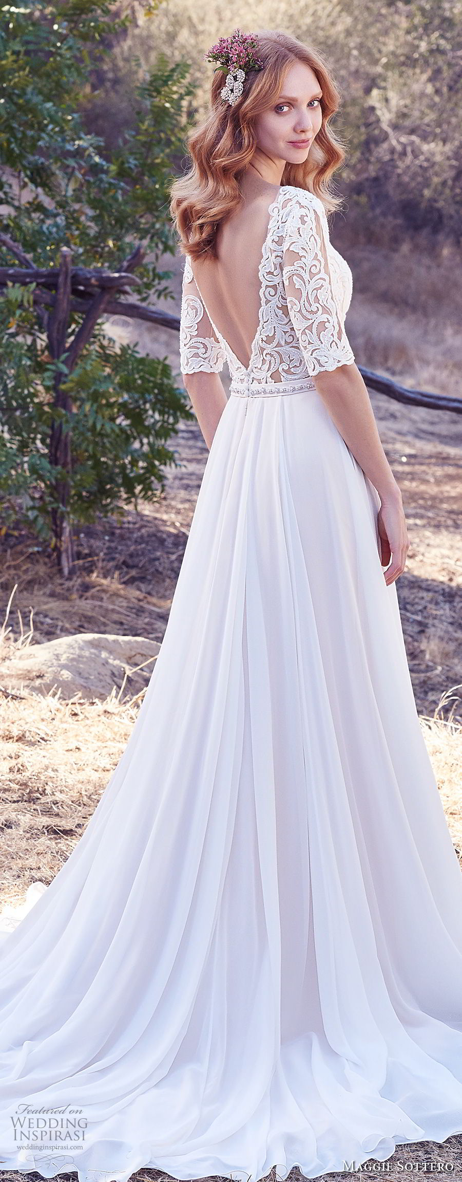 maggie sottero fall 2017 bridal half sleeves illusion bateau sweetheart neckline heavily embellished bodice romantic elegant soft a line wedding dress open v back chapel train (983) bv