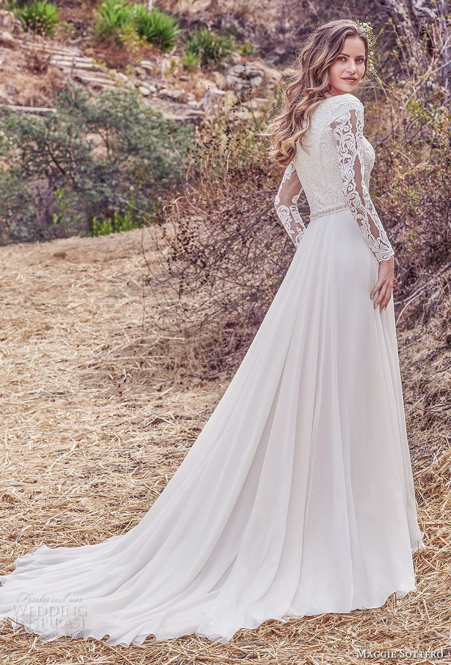 maggie sottero fall 2017 bridal long sleeves bateau neckline heavily embellished bodice elegant modest a  line wedding dress covered lace back chapel train (983) bv