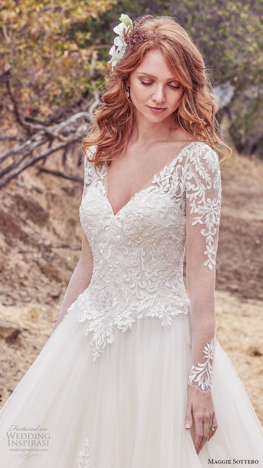 maggie sottero fall 2017 bridal long sleeves v neck heavily embellished bodice romantic a line wedding dress mid scoop back chapel train (612) zv