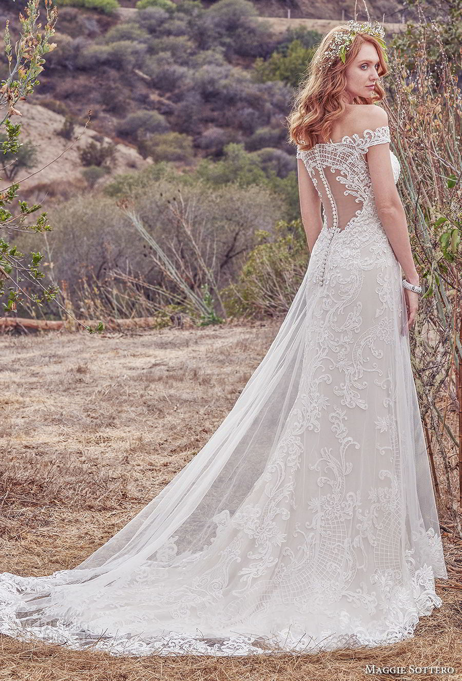 maggie sottero fall 2017 bridal off the shoulder deep plunging sweetheart neckline full embellishment elegant a  line wedding dress sheer lace back chapel train (904) bv