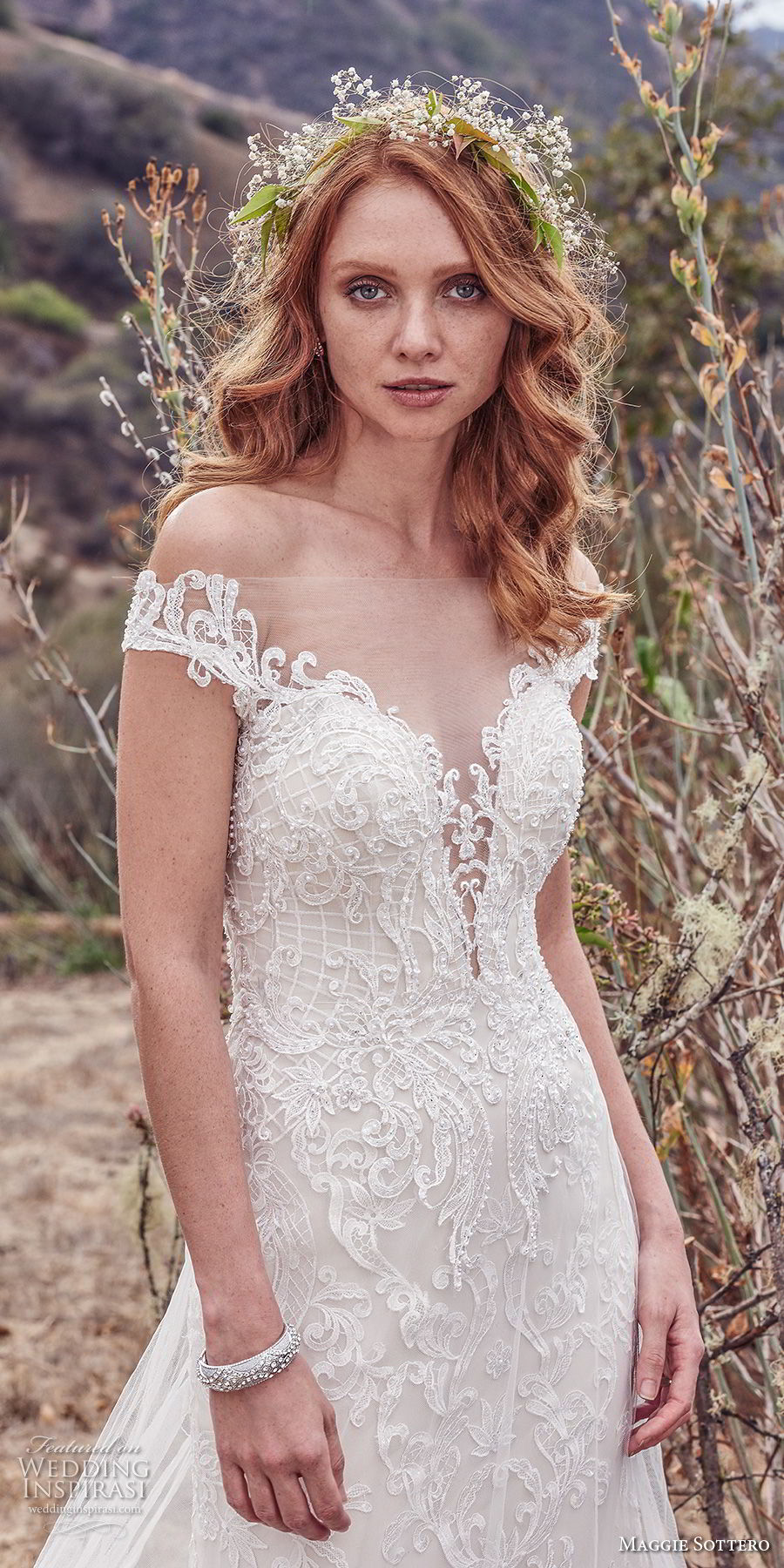 maggie sottero fall 2017 bridal off the shoulder deep plunging sweetheart neckline full embellishment elegant a  line wedding dress sheer lace back chapel train (904) zv