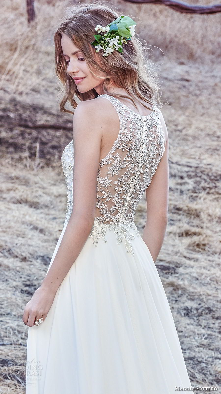maggie sottero fall 2017 bridal sleeveless illusion jewel deep v neck heavily embellished bodice elegant soft a  line wedding dress sheer embellished back sweep train (940) zbv