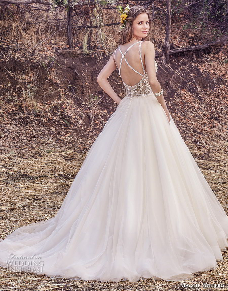 maggie sottero fall 2017 bridal sleeveless spaghetti strap sweetheart neckline heavily embellished bodice tulle skirt romantic a  line wedding dress cross trap back chapel train (936) bv