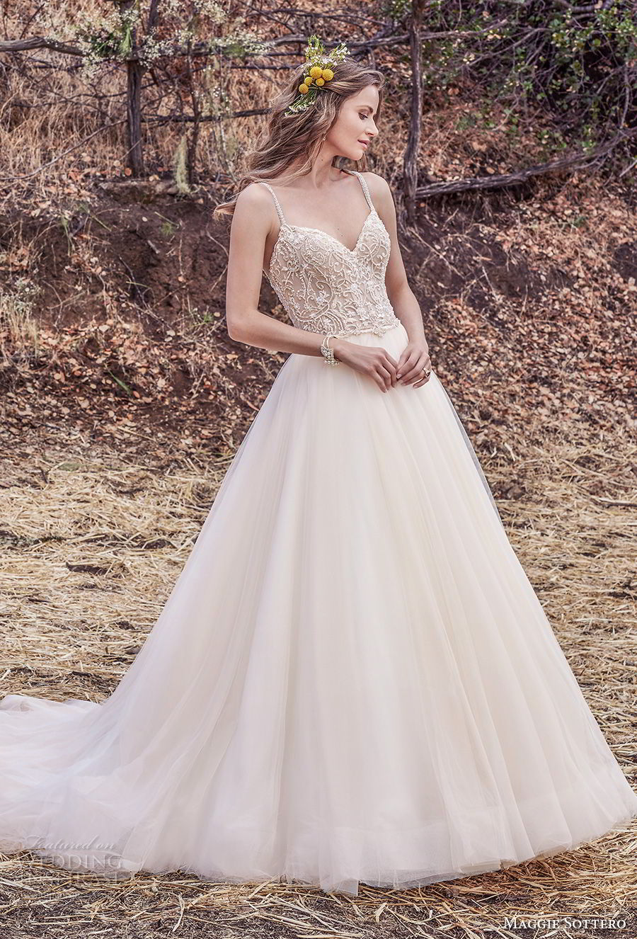 maggie sottero fall 2017 bridal sleeveless spaghetti strap sweetheart neckline heavily embellished bodice tulle skirt romantic a  line wedding dress cross trap back chapel train (936) mv