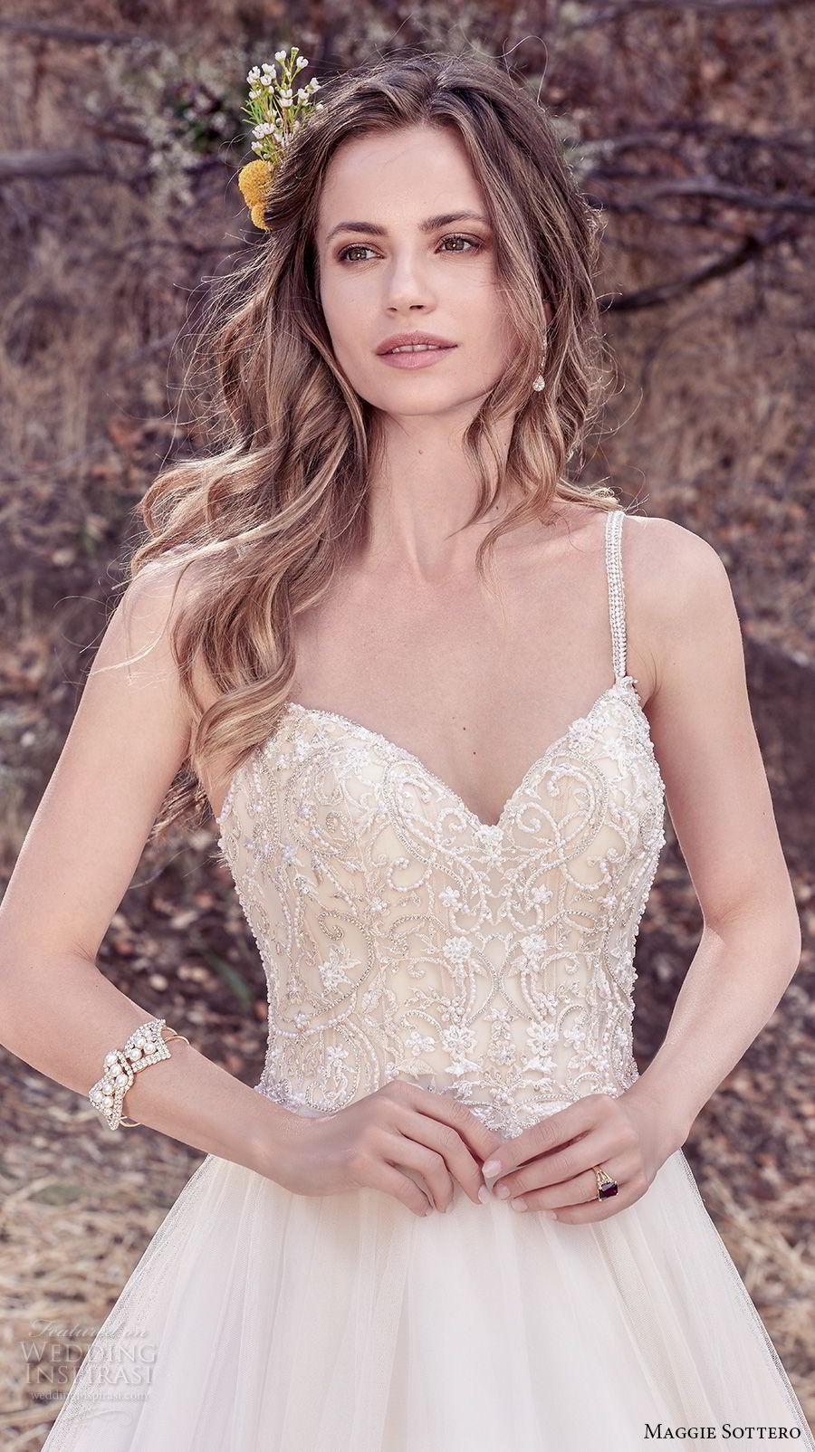 maggie sottero fall 2017 bridal sleeveless spaghetti strap sweetheart neckline heavily embellished bodice tulle skirt romantic a line wedding dress cross trap back chapel train (936) zv