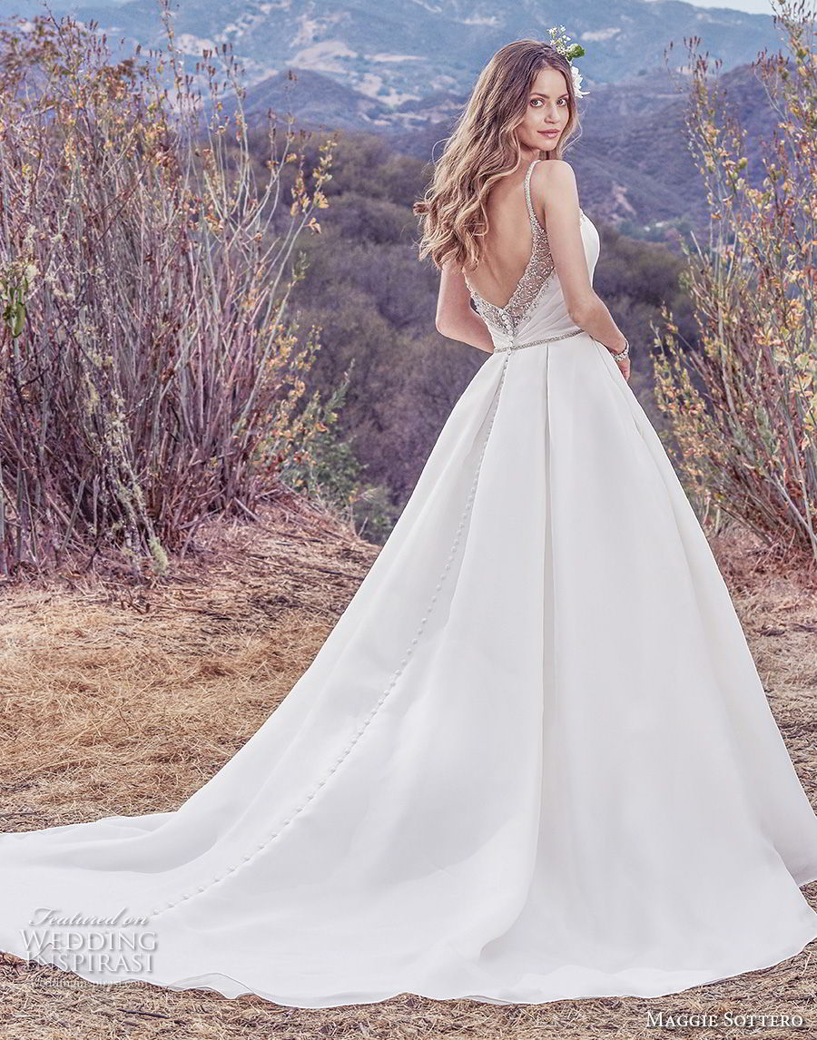 maggie sottero fall 2017 bridal sleeveless thin strap sweetheart necklin ruched wrap over bodice classic elegant simple a  line wedding dress with pockets open v back chapel train (937) bv