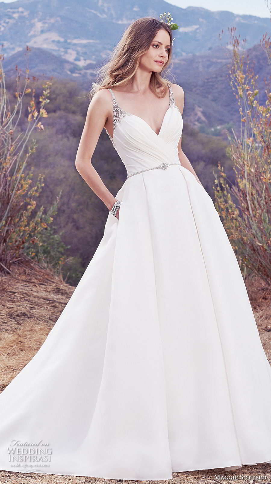 maggie sottero fall 2017 bridal sleeveless thin strap sweetheart necklin ruched wrap over bodice classic elegant simple a  line wedding dress with pockets open v back chapel train (937) mv