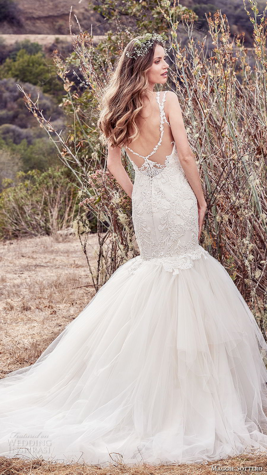 maggie sottero fall 2017 bridal sleeveless with strap sweetheart neckline heavily embellished bodice elegant mermaid wedding dress open scoop back chapel train (610) bv