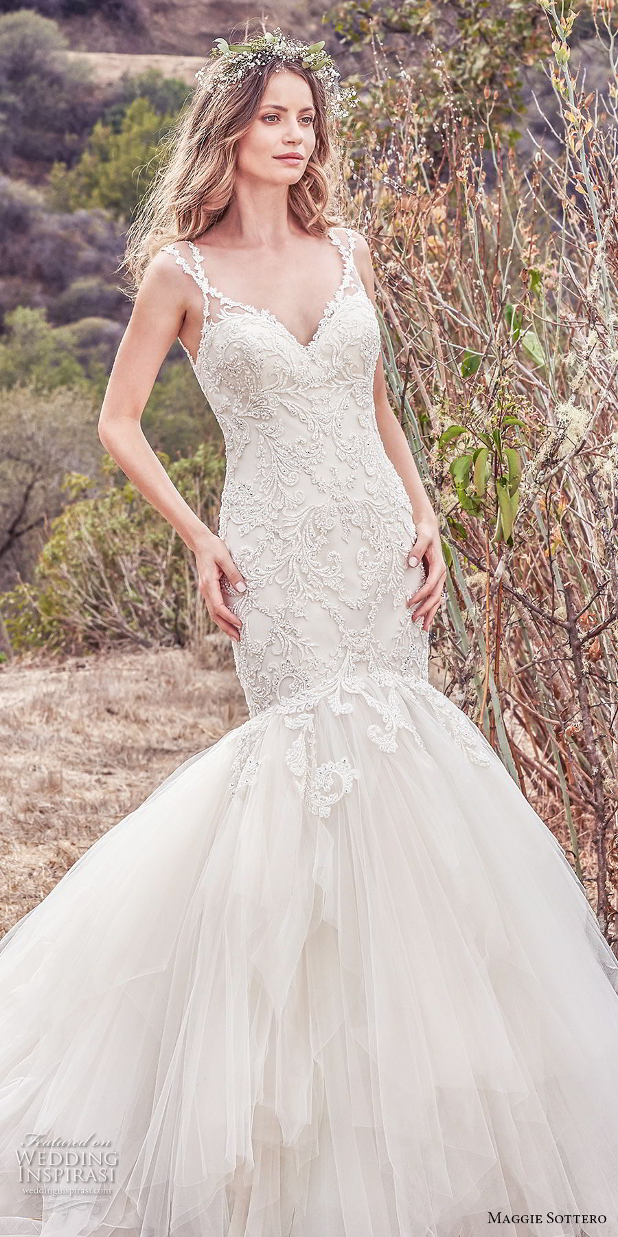 maggie sottero fall 2017 bridal sleeveless with strap sweetheart neckline heavily embellished bodice elegant mermaid wedding dress open scoop back chapel train (610) mv