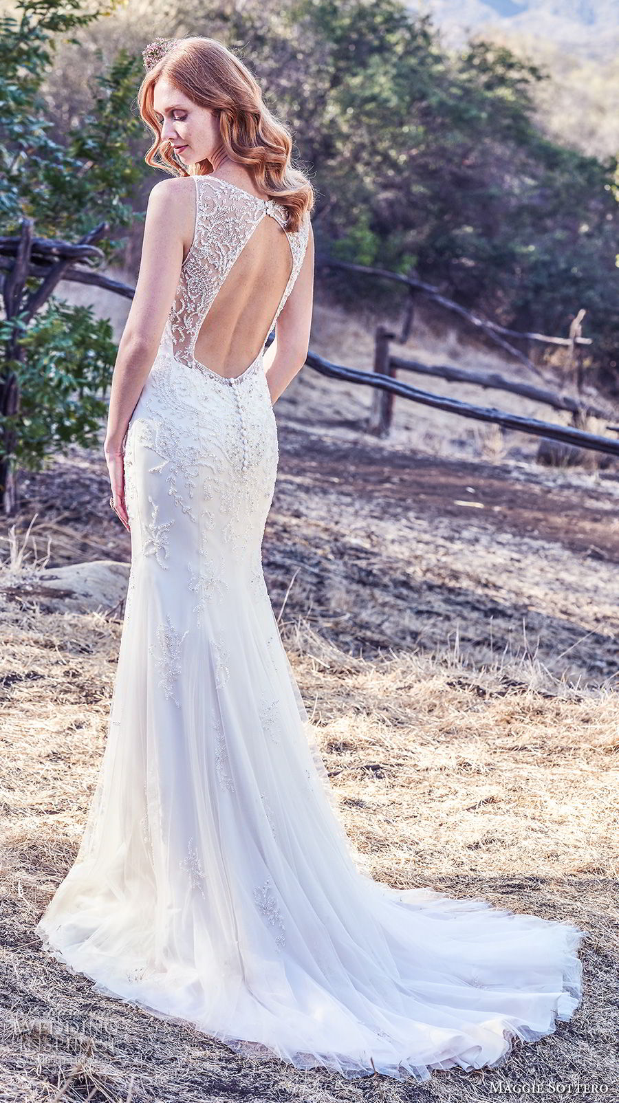 maggie sottero fall 2017 bridal sleeveless with strap v neck heavily embellished beaded bodice elegant fit and flare wedding dress keyhole back medium train (938) bv