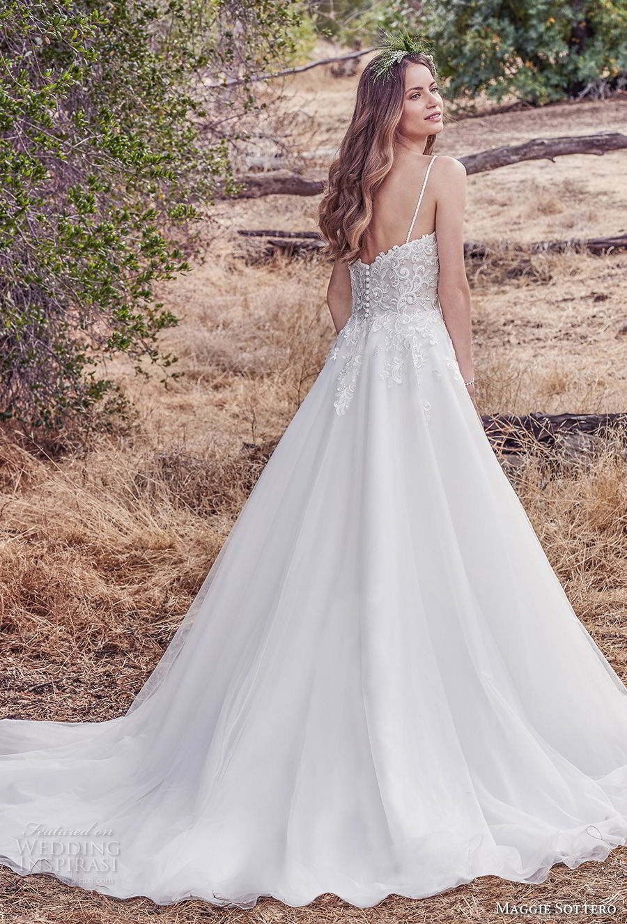 maggie sottero fall 2017 bridal spaghetti strap sweetheart neckline heavily embellished bodice romantic  a  line wedding dress chapel train (902) bv