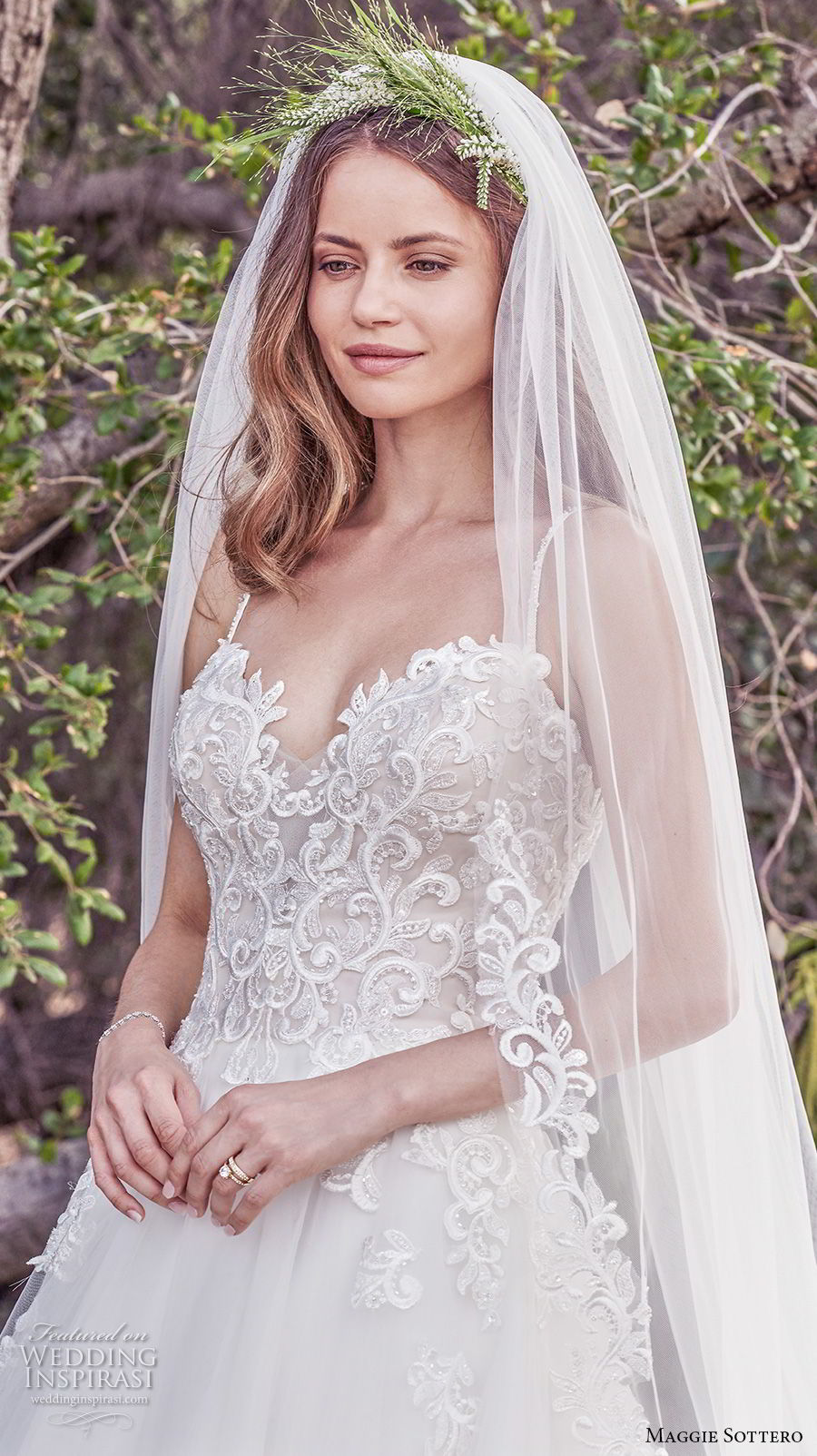 maggie sottero fall 2017 bridal spaghetti strap sweetheart neckline heavily embellished bodice romantic  a  line wedding dress chapel train (902) zv