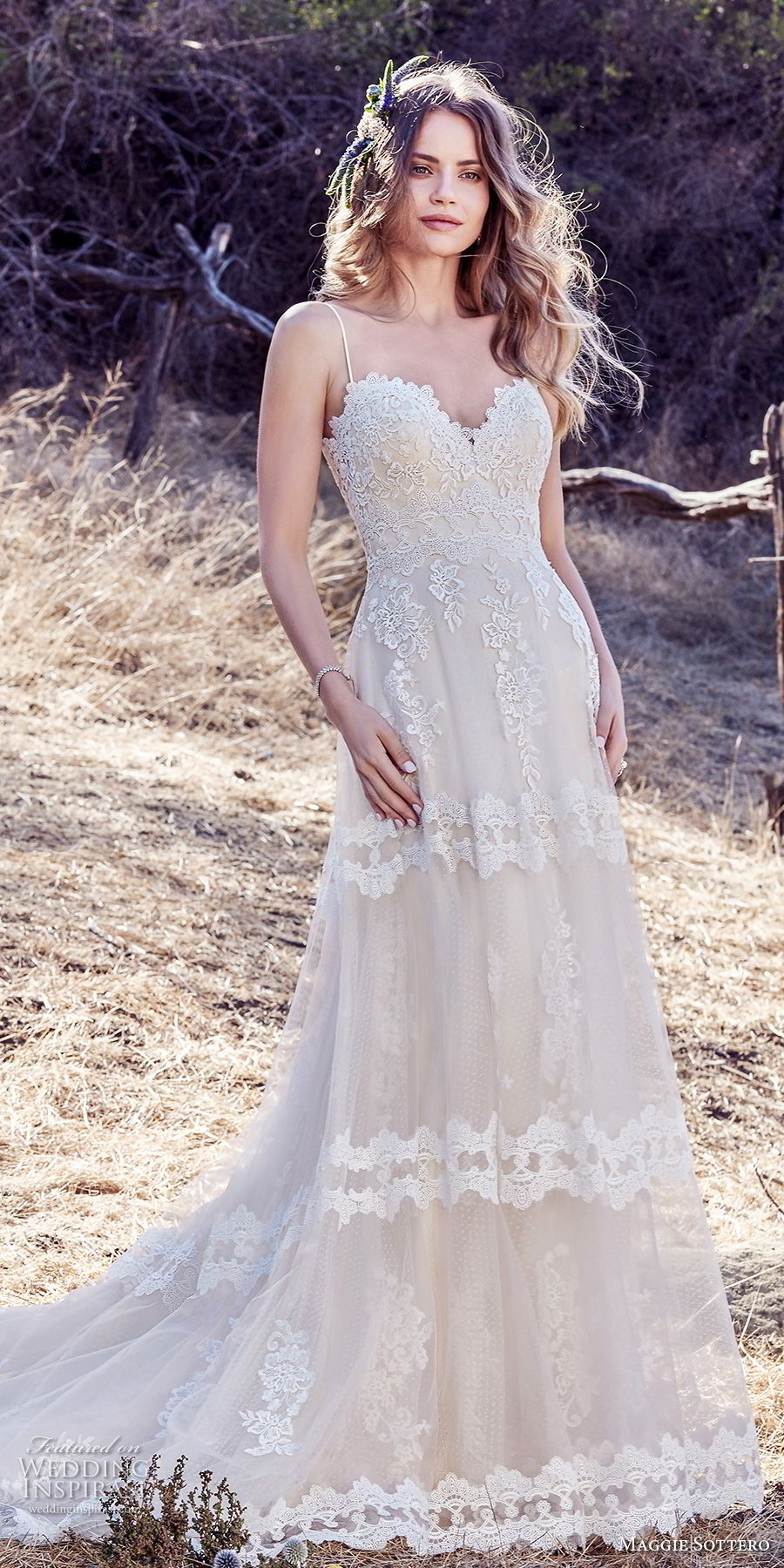 maggie sottero fall 2017 bridal spaghetti strap sweetheart neckline heavily embellished bodice romantic soft a  line wedding dress open back chapel train (991) mv