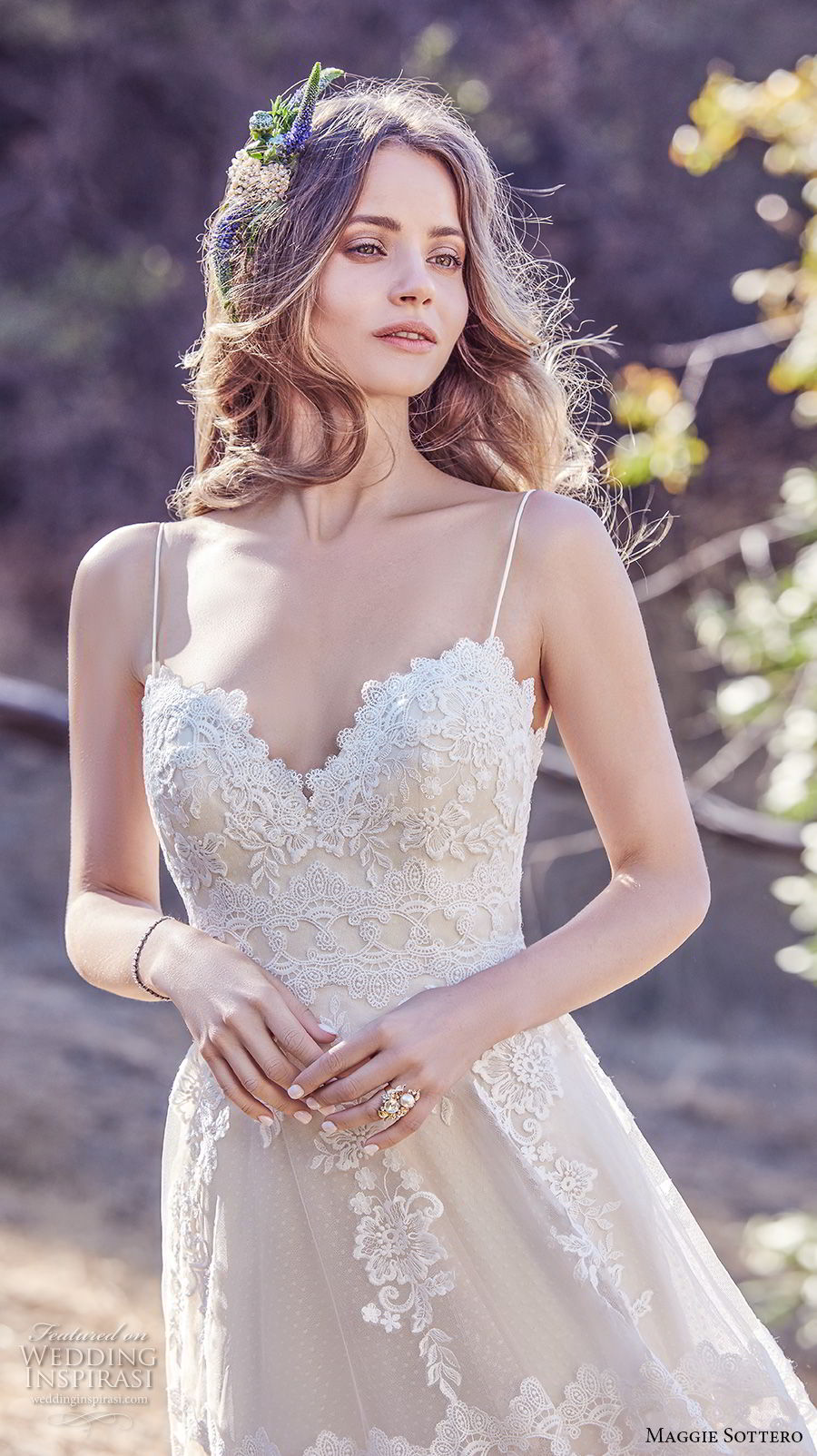 maggie sottero fall 2017 bridal spaghetti strap sweetheart neckline heavily embellished bodice romantic soft a  line wedding dress open back chapel train (991) zv
