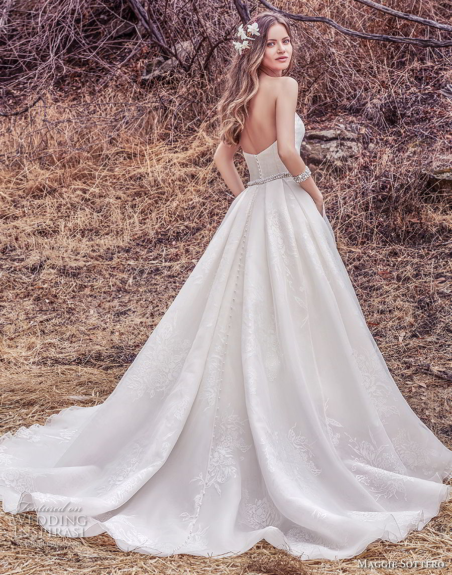 maggie sottero fall 2017 bridal strapless semi sweetheart neckline light embellishment romantic classic a  line wedding dress with pockets chapel train (921) bv