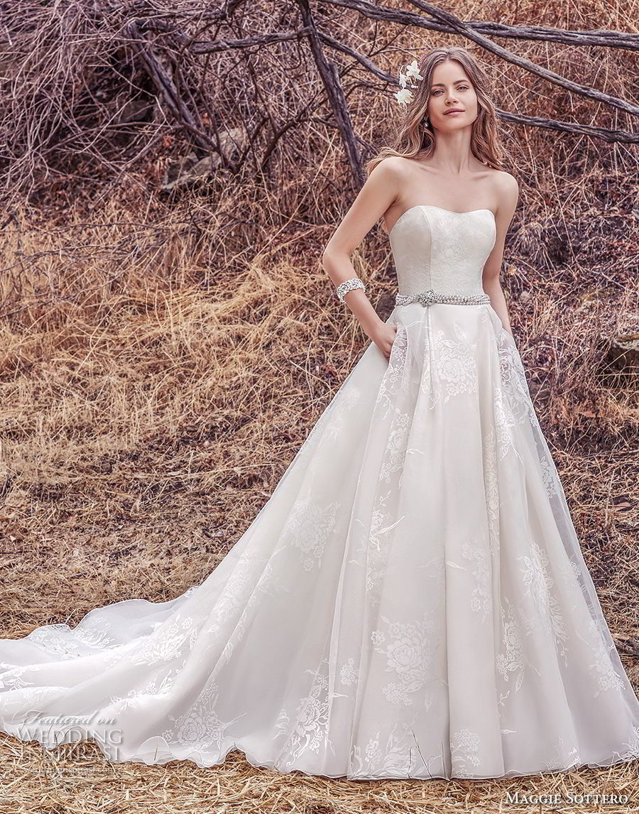 maggie sottero fall 2017 bridal strapless semi sweetheart neckline light embellishment romantic classic a  line wedding dress with pockets chapel train (921) mv