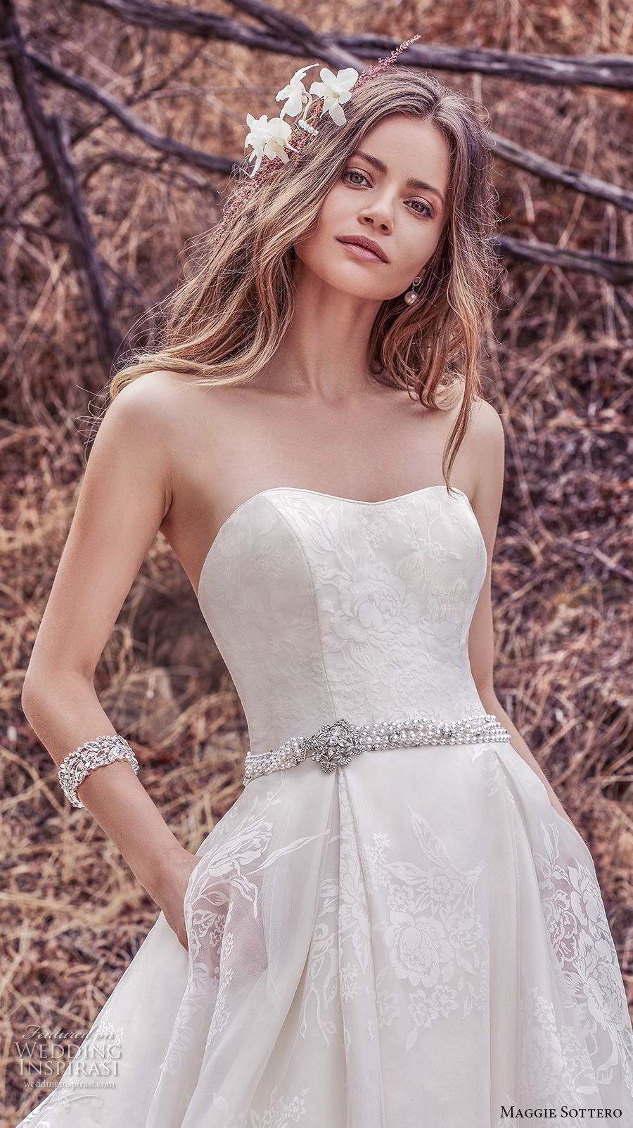 maggie sottero fall 2017 bridal strapless semi sweetheart neckline light embellishment romantic classic a  line wedding dress with pockets chapel train (921) zv