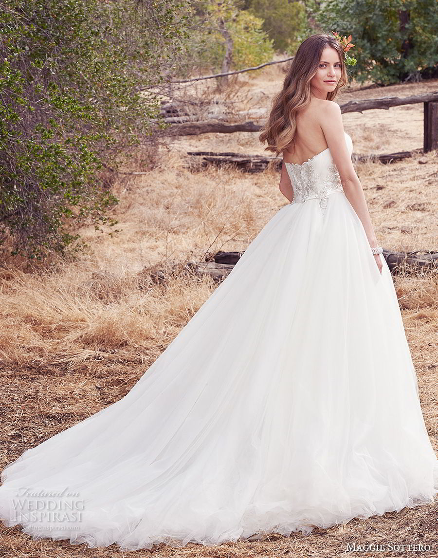 maggie sottero fall 2017 bridal strapless sweetheart neckline heavily embellished beaded bodice romantic princess ball gown a  line wedding dress chapel train (944) bv