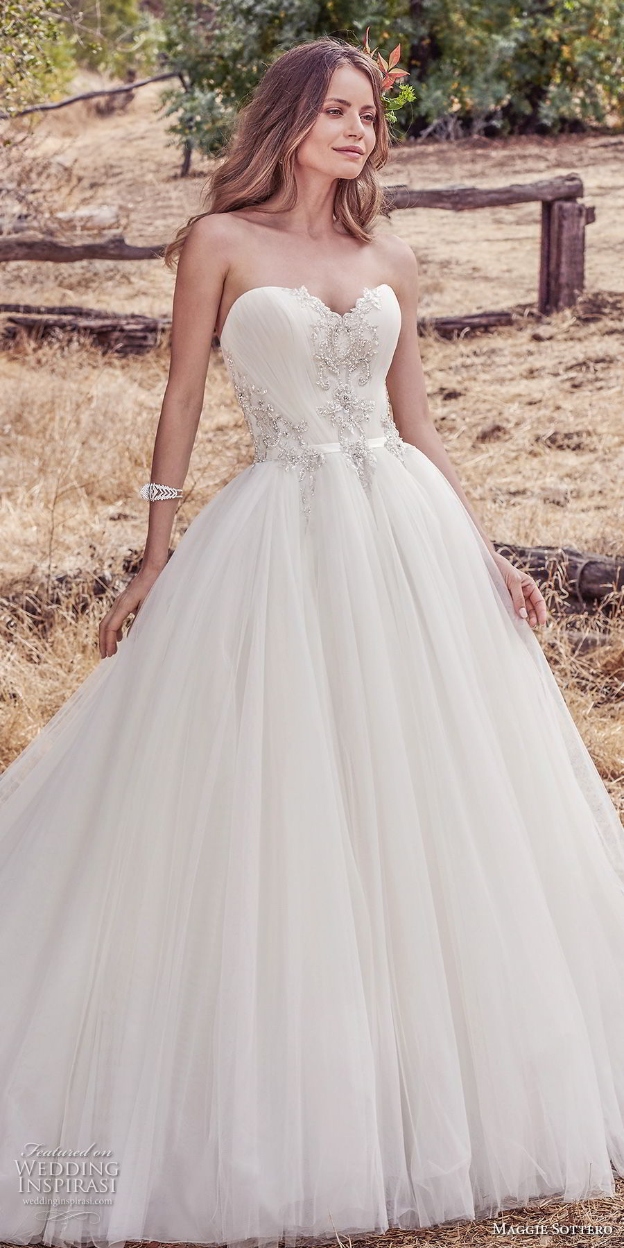 maggie sottero fall 2017 bridal strapless sweetheart neckline heavily embellished beaded bodice romantic princess ball gown a  line wedding dress chapel train (944) mv