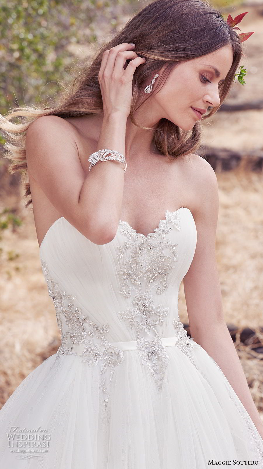 maggie sottero fall 2017 bridal strapless sweetheart neckline heavily embellished beaded bodice romantic princess ball gown a  line wedding dress chapel train (944) zv