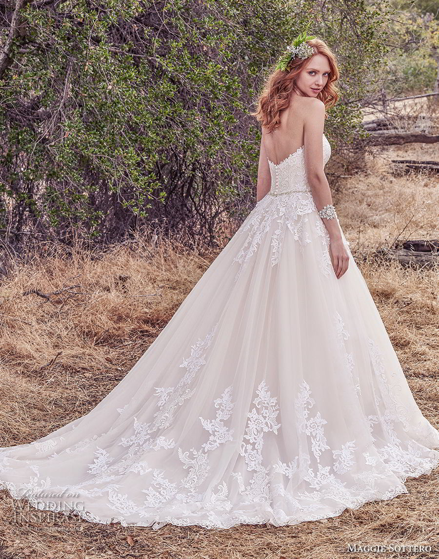 maggie sottero fall 2017 bridal strapless sweetheart neckline heavily embellished bodice romantic blush color a  line wedding dress chapel train (933) bv