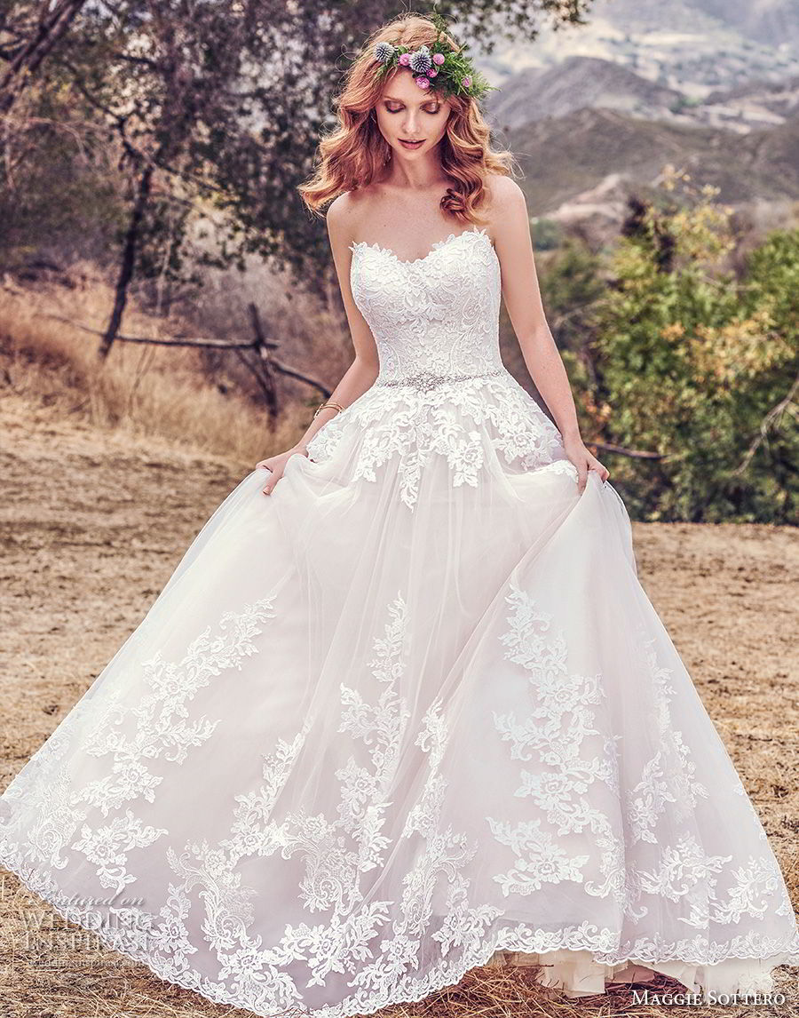 maggie sottero fall 2017 bridal strapless sweetheart neckline heavily embellished bodice romantic blush color a line wedding dress chapel train (933) mv
