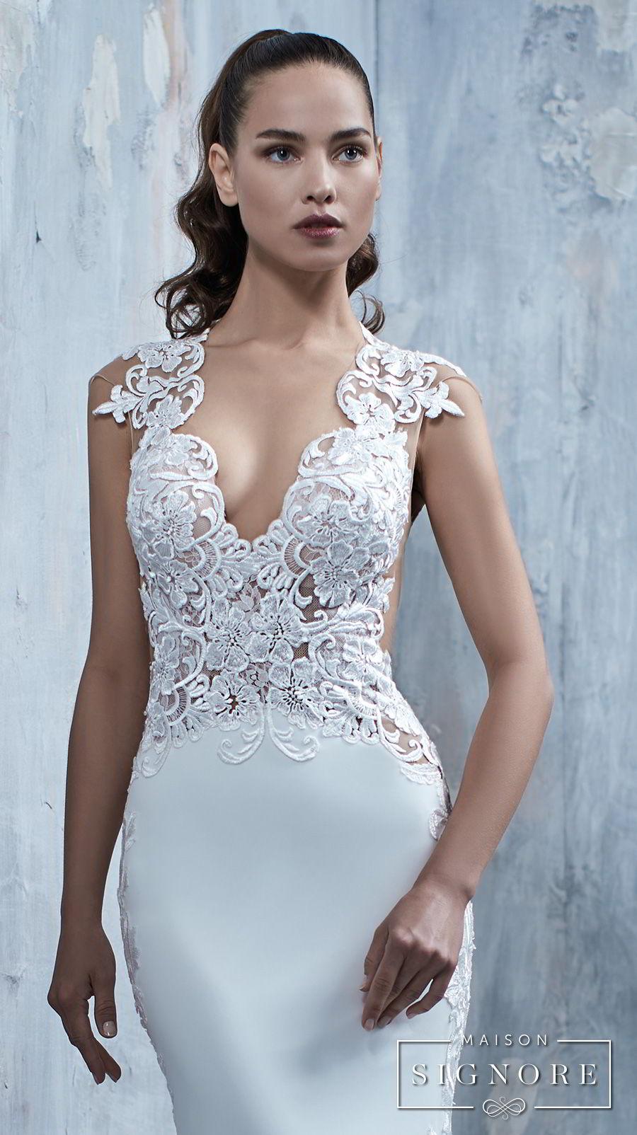 maison signore 2017 bridal cap sleeves deep v neck heavily embellished elegant fit and flare wedding dress chapel train (tessa) bv