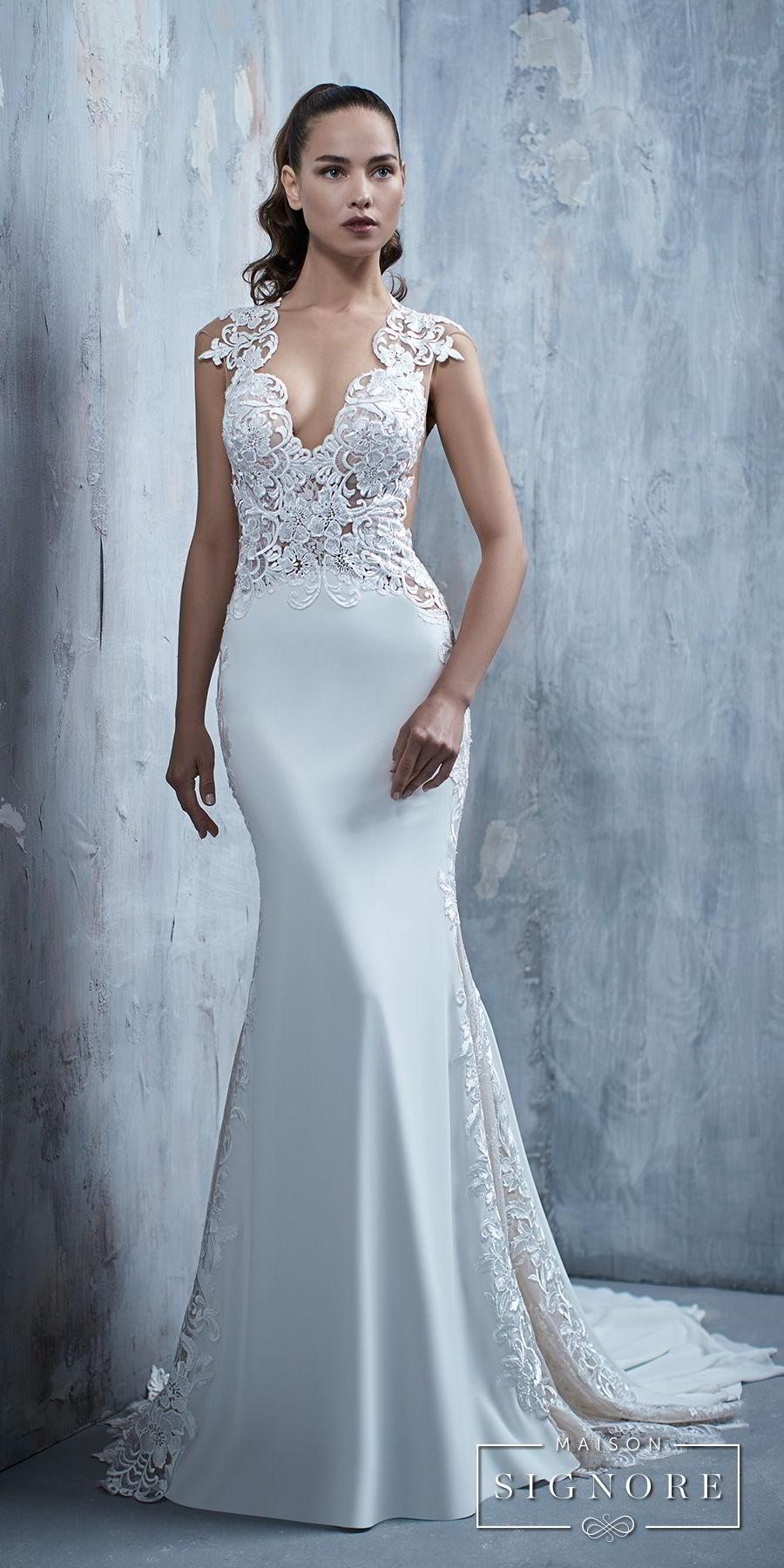 maison signore 2017 bridal cap sleeves deep v neck heavily embellished elegant fit and flare wedding dress chapel train (tessa) mv