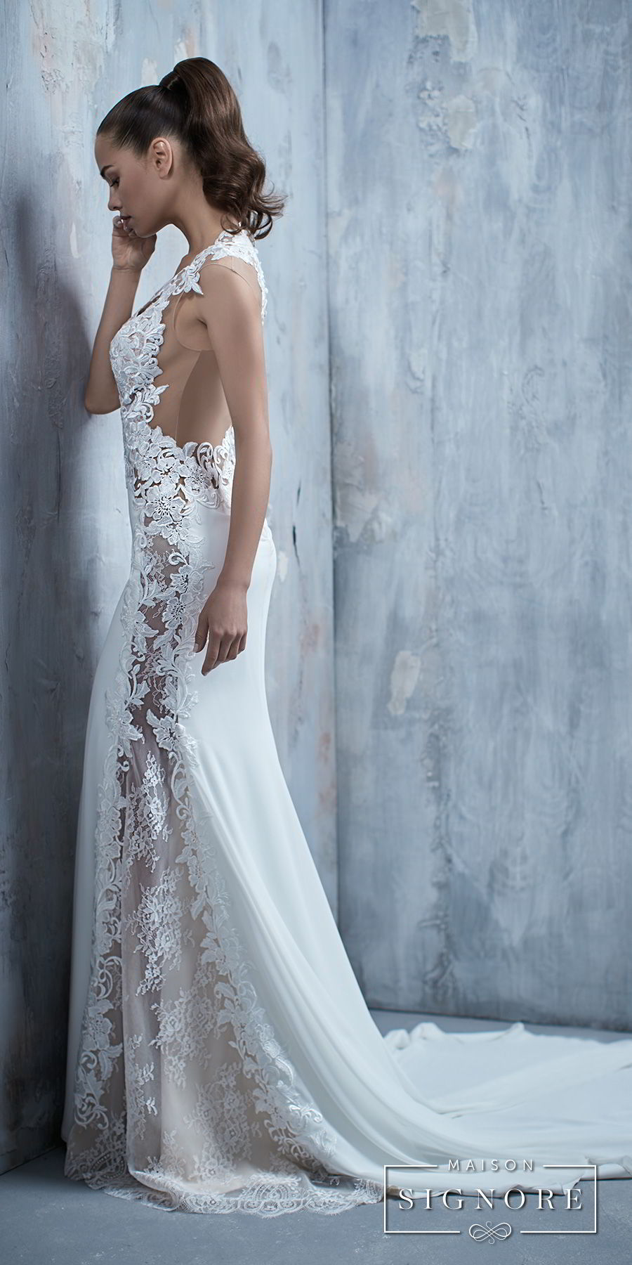 maison signore 2017 bridal cap sleeves deep v neck heavily embellished elegant fit and flare wedding dress chapel train (tessa) sdv