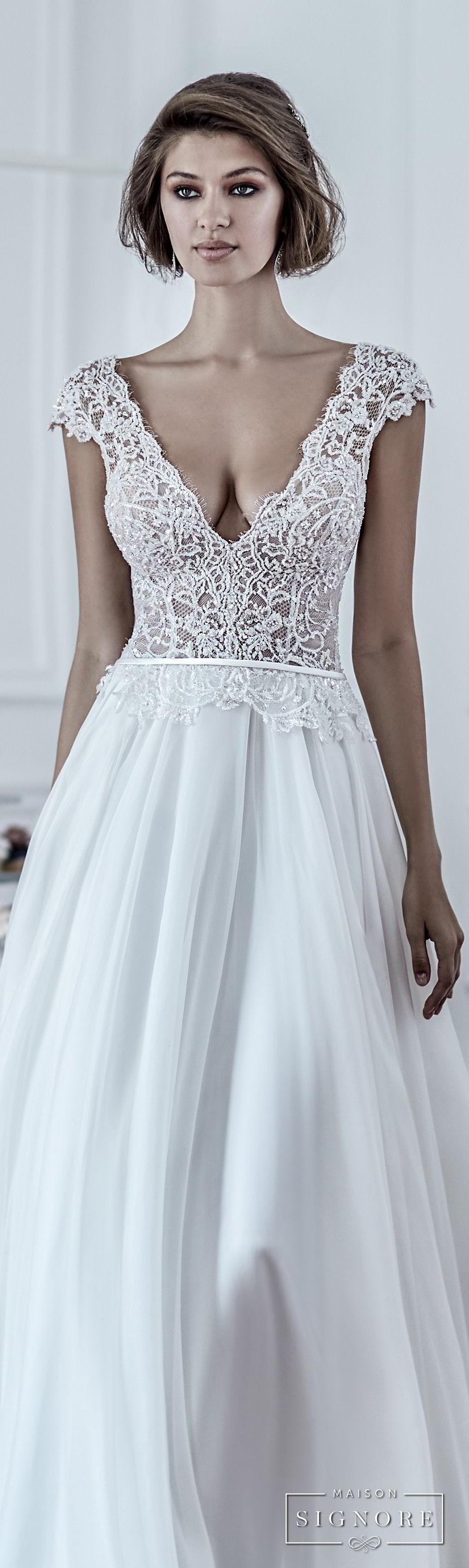 maison signore 2017 bridal cap sleeves deep v neck heavily embellished romantic sexy pastel blue soft a  line wedding dress chapel train (duchessa) lv