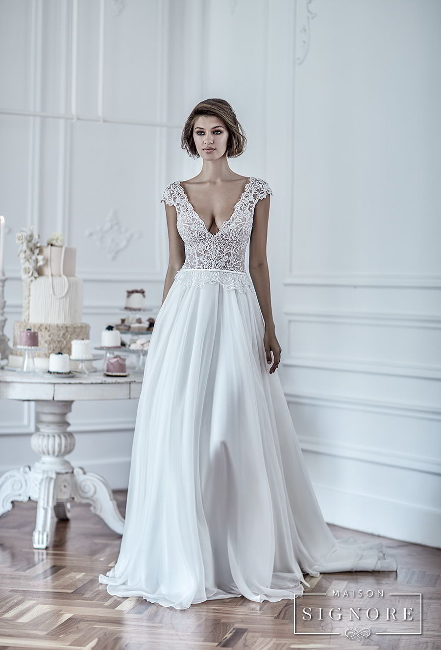 maison signore 2018 bridal cap sleeves deep v neck heavily embellished romantic sexy pastel blue soft a  line wedding dress chapel train (duchessa) mv fv