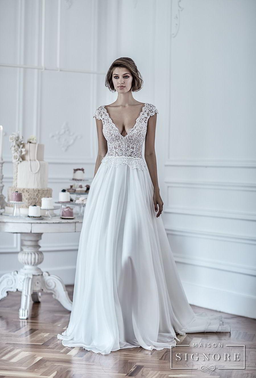 maison signore 2017 bridal cap sleeves deep v neck heavily embellished romantic sexy pastel blue soft a  line wedding dress chapel train (duchessa) mv fv