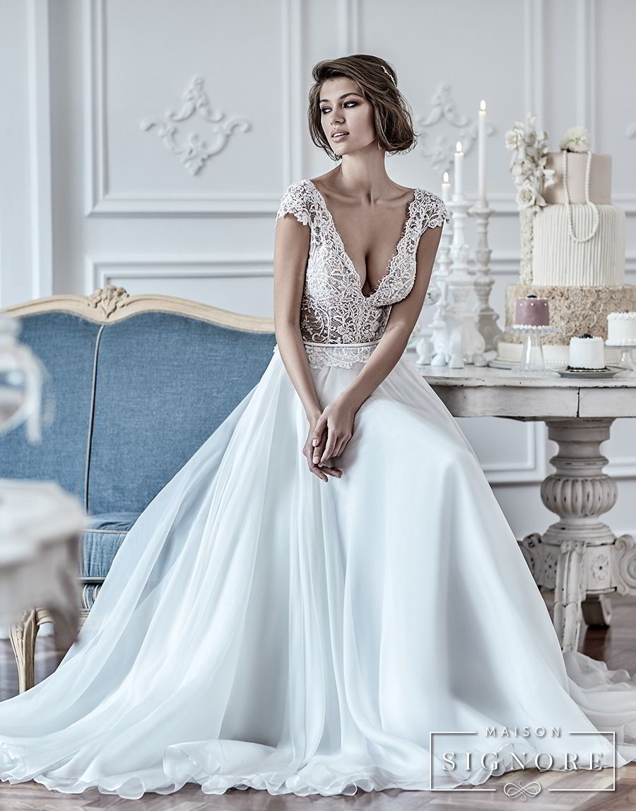maison signore 2018 bridal cap sleeves deep v neck heavily embellished romantic sexy pastel blue soft a  line wedding dress chapel train (duchessa) mv