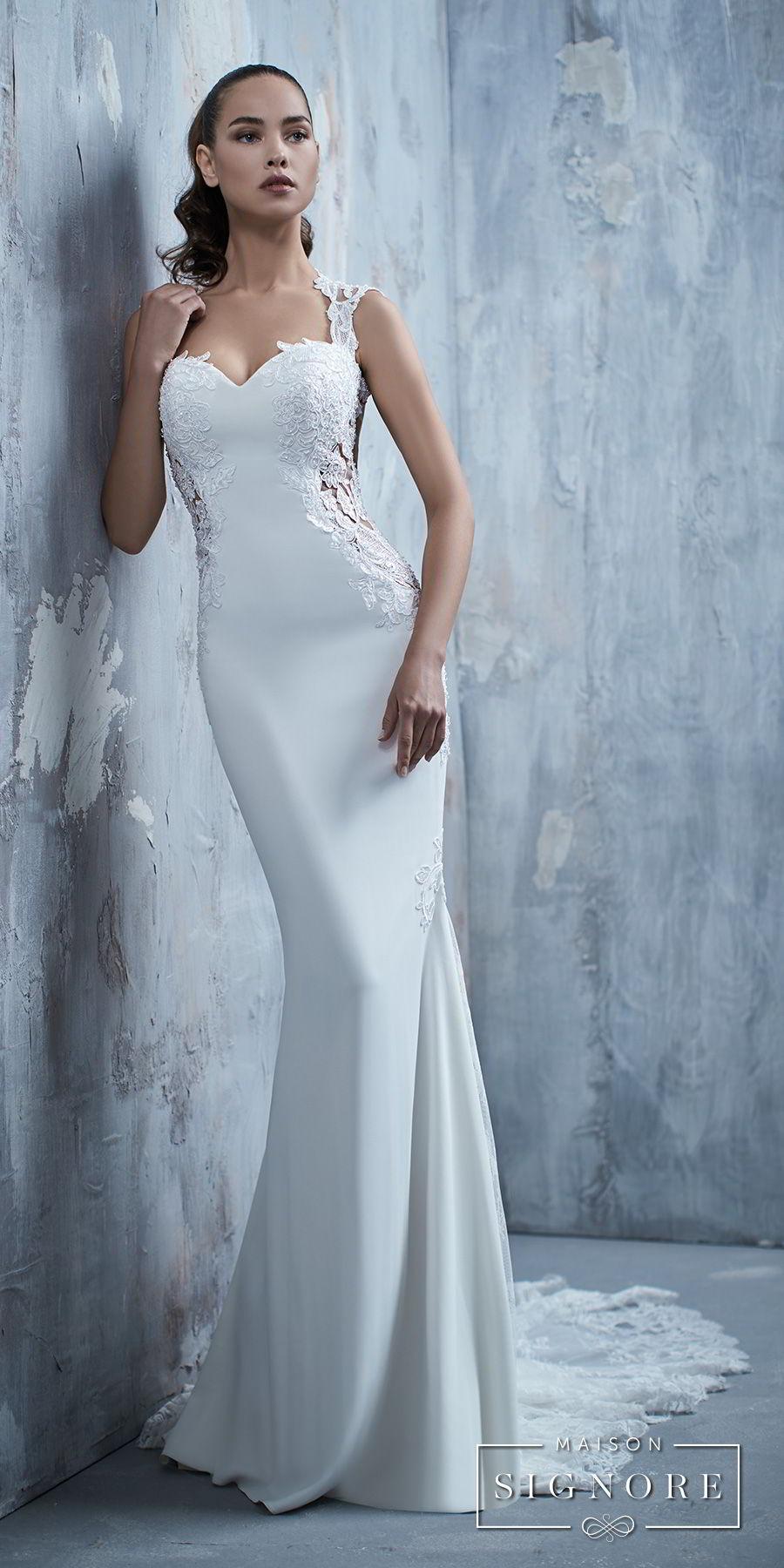 maison signore 2017 bridal cap sleeves sweetheart neckline heavily embellished bodice elegant simple fit and flare sheath wedding dress chapel train (tamiko) mv