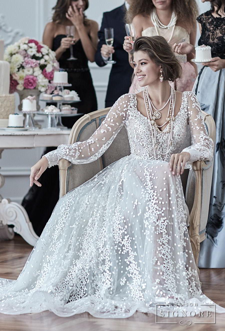 maison signore 2017 bridal long sleeves v neck full embellishment elegant a  line wedding dress open back sweep train (drusilla) mv