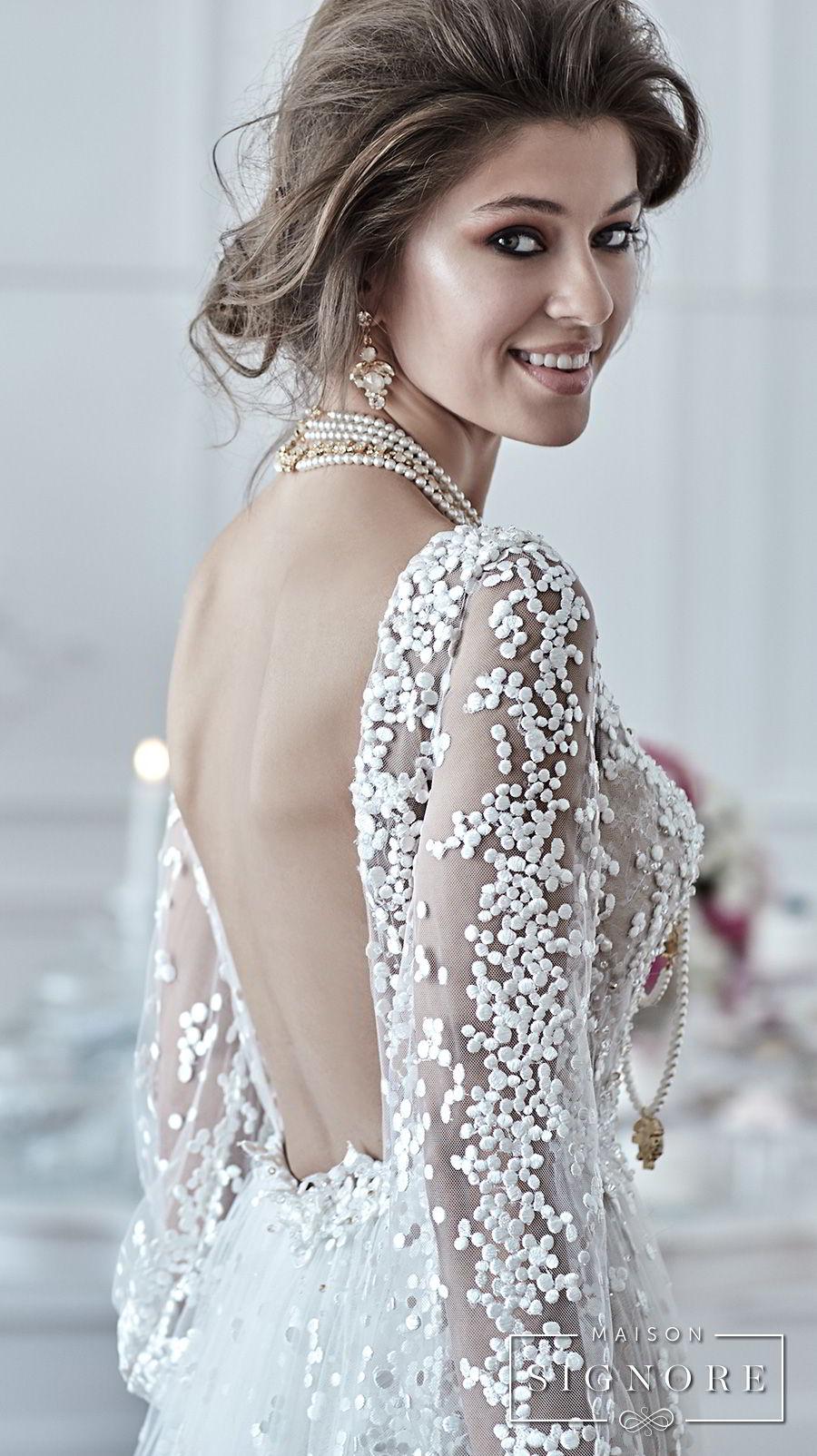 maison signore 2017 bridal long sleeves v neck full embellishment elegant a  line wedding dress open back sweep train (drusilla) zbv