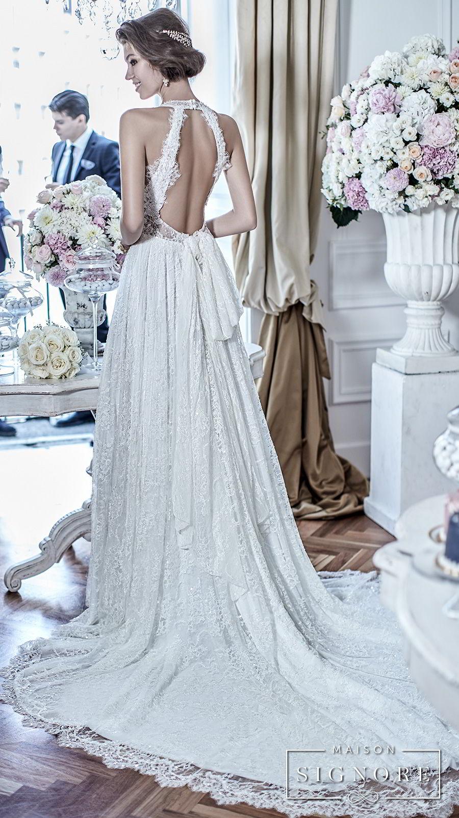 maison signore 2017 bridal sleeveless deep plunging sweetheart neckline full embellishment elegant romantic a  line wedding dress open back chapel train (doris) bv