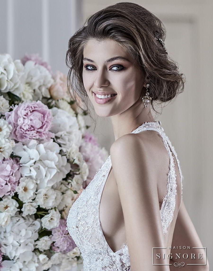 maison signore 2017 bridal sleeveless deep plunging sweetheart neckline full embellishment elegant romantic a  line wedding dress open back chapel train (doris) zbv