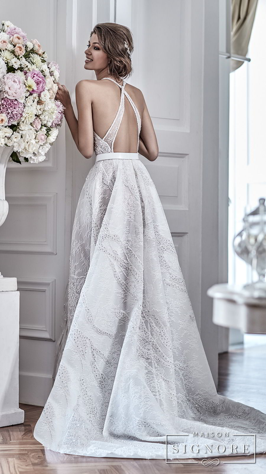 maison signore 2017 bridal sleeveless halter jewel neck full embellishment elegant a  line wedding dress with pocket cross strap back chapel train (demy)  bv