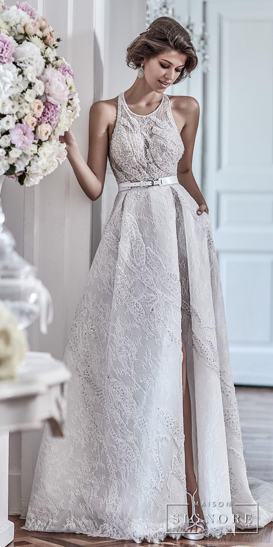 maison signore 2017 bridal sleeveless halter jewel neck full embellishment elegant a  line wedding dress with pocket cross strap back chapel train (demy) mv fv