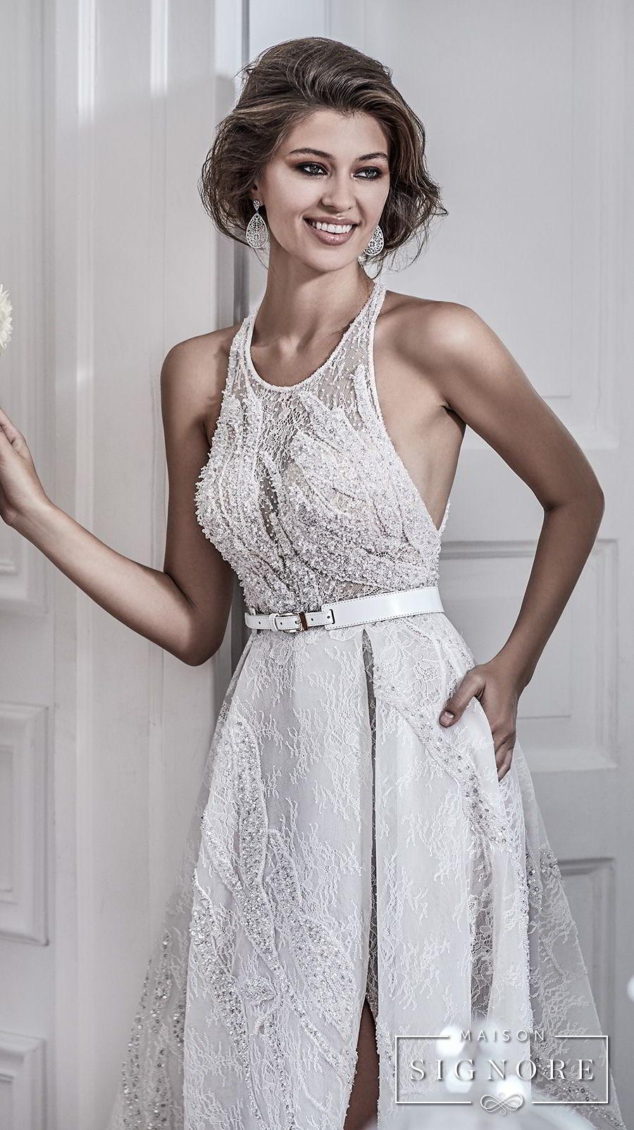 maison signore 2017 bridal sleeveless halter jewel neck full embellishment elegant a  line wedding dress with pocket cross strap back chapel train (demy) mv