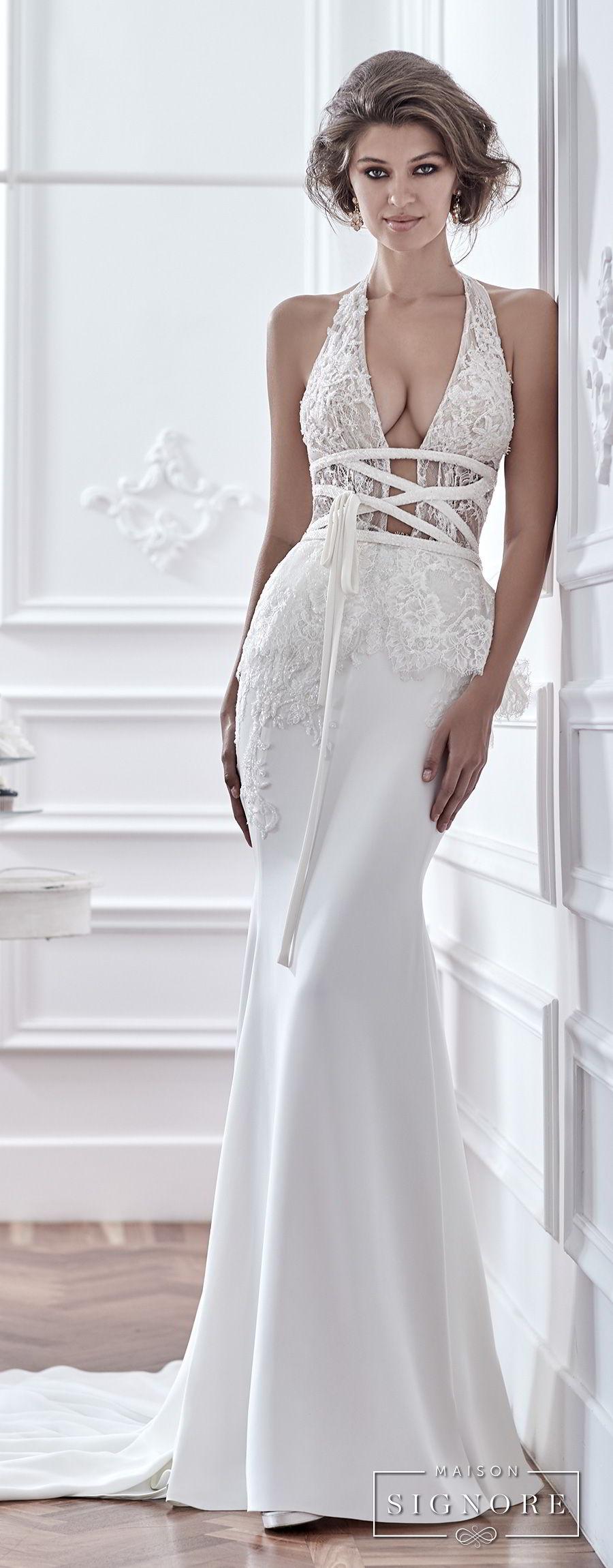 maison signore 2017 bridal sleeveless halter neck deep plunging v neck heavily embellished bodice elegant sexy fit and flare sheath wedding dress medium train (dafne) mv