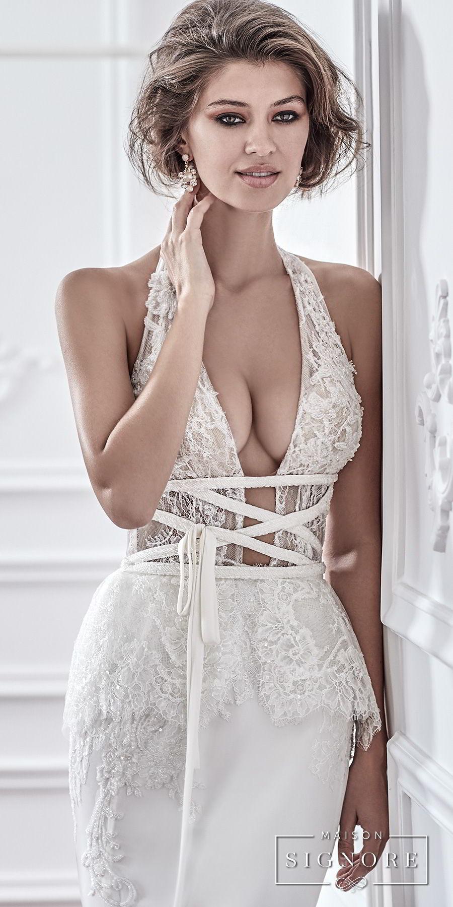 maison signore 2017 bridal sleeveless halter neck deep plunging v neck heavily embellished bodice elegant sexy fit and flare sheath wedding dress medium train (dafne) zv
